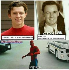No argument here -- there is definitely a resemblance between Stan Lee and Tom Holland. No argument here -- there is definitely a resemblance between Stan Lee and Tom Holland. Avengers Humor, Marvel Avengers, Marvel Dc Comics, Films Marvel, Funny Marvel Memes, Marvel Jokes, Dc Memes, Marvel Heroes, Funny Memes