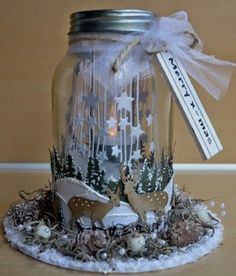 Glass jar decorated by DT member Astrid with Craftables Tiny's Pinetrees Tiny's Deer and Falling Stars by Marianne Design - kerst decoratie van conservenpot-weckfles met van papier Very Merry Christmas, Noel Christmas, Christmas Gifts, Christmas Ornaments, Rustic Christmas Crafts, Holiday Crafts, Christmas Decorations, Diy Arts And Crafts, Paper Crafts