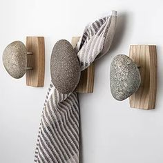 Sea Stones Coast Hook - Coat Hook - Hand Selected, Natural Stone Wall Hook with Elegant Wooden Backplate - Hang Your Coats, Towels, Robes & More with Both Indoors & Outdoor Uses Pack, Ash) Robe And Towel Hooks, Coat Hooks, Natural Stone Wall, Creation Deco, Hanging Clothes, Curtain Ties, Wall Mounted Coat Rack, Recycled Wood, Wood Wall