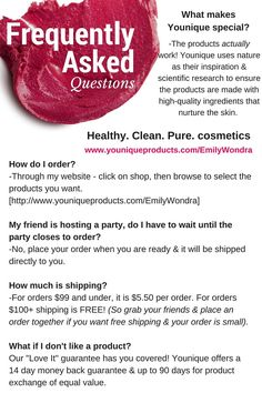 Younique - natural based skin care & makeup FAQs. If you still have questions, please click to send me a message, I'd love to chat and clear up any remaining questions you have about Younique or the products!