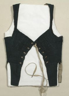 Corset bodice - Made from indigo jean and lined with unbleached linen and trimmed with blue velvet ribbon around the armholes and fastening with 5 pairs of eyelet holes and tape. See also SNO.TC. 1477/1478 (female)