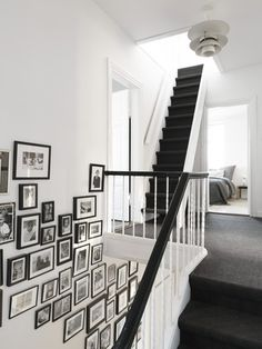 Line your staircase to liven up an often boring wall | Community Post: 32 Creative Gallery Wall Ideas To Transform Any Room
