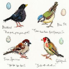 As part 2 of the garden birds series designed by Madeleine Floyd for Bothy Threads, this colourful cross stitch kit features a blackbird, blue tit, tree sparrow and a goldfinch.