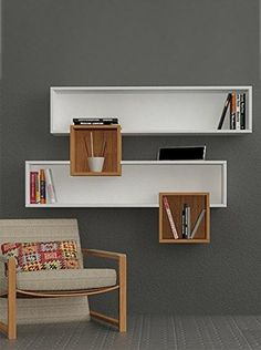Salad Wall Shelves White Walnut by Decortie Furniture, Home Office Decor, Shelves, Interior, Wall Shelves Design, Wall Shelves, Home Decor, House Interior, Furniture Design