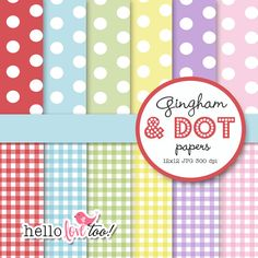 INSTANT DOWNLOAD gingham and dot digital papers - scrapbooking, invitation design, party printables, card & stationery making
