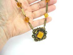 #vogueteam #etsygifts Art Deco Czech Necklace. Topaz Glass & Enamel by bohemiantradin
