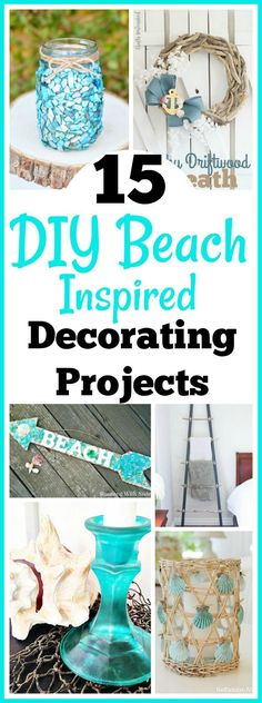 15 DIY Beach Inspired Home Decor Projects so you can add a coastal vibe to your home on a budget! Coastal DIY home decor ideas, DIY projects, nautical home decor, beach cottage, easy crafts decor on a budget beach 15 DIY Beach Inspired Home Decor Projects Beach Cottage Style, Beach Cottage Decor, Coastal Decor, Coastal Cottage, Coastal Style, Beach House Diy Decor, Coastal Farmhouse, Nautical Decor Ideas, Coastal Living