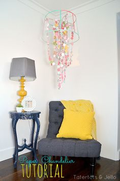 Scrapbook Paper Chandelier Tutorial at Tatertots and Jello #DIY