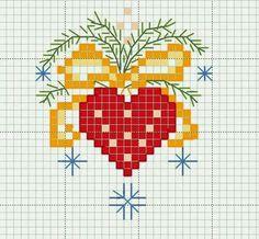 Christmas heart X-stitch Small Cross Stitch, Cross Stitch Heart, Cross Stitch Cards, Modern Cross Stitch, Cross Stitch Designs, Cross Stitching, Cross Stitch Embroidery, Cross Stitch Patterns, Christmas Cross