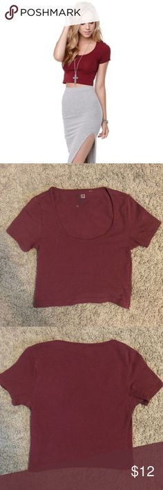 PacSun Nollie burgundy scoop neck crop top In great condition. Nollie burgundy scoop neck crop top. Purchased from PacSun. Size XS. Please use the offer tool for offers and not in the comments. I'm not interested in trading. PacSun Tops Crop Tops