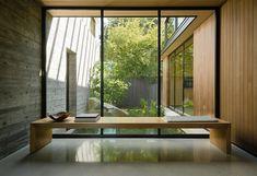 Heated Concrete Floor, Concrete Floors, Concrete Wall, Architecture Photo, Landscape Architecture, Landscape Design, Entry Bench, Minimal Home, Mid Century House