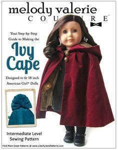 Ivy Cape 18 inch Doll Clothes Pattern PDF Download | Pixie Faire