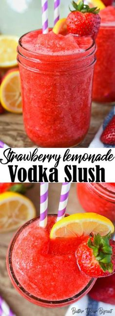 This Strawberry Lemonade Vodka Slush cocktail is pure heaven! A super refreshing summer drink with just four ingredients. You'll be craving it all summer long. #vodka #cocktails #strawberrylemonade #entertaining