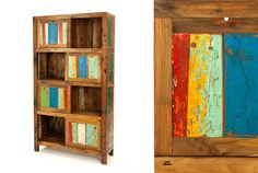 A sliding door shelf unit with a fun and vibrant splash of colour. Colour courtesy of retired fishing boats now recreated into functional furniture. Shop online for this and more boat wood furniture. ⚓ www.zenporium.com/product-category/collections/boat-furniture #woodenshelf #rusticfurniture #InteriorDesign #rusticmodern #reclaimedwood #boatwood #sustainabledesign #nauticaldecor #colourfulinteriors #cottageliving #greenliving #guiltfreewood #shoponline #Zenporium Door Shelves, Wooden Shelves, Storage Shelves, Shelving, Shelf, Boat Furniture, Rustic Furniture, Colour Colour, Cottage Living