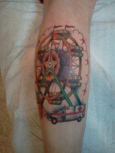 7b47df8e2a1c0 My take on Gaslight Anthem's Patient Ferris Wheel done by Mike Tschirn @  Golden Monkey, F-Burg, VA. Tattoo Harley Mamma · Tattoos - Roller Coasters ☠