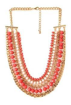 Слоистых ожерелье цепь с участием граненые искусственную драгоценных камней бусы.  Высокая полировка.  Омар застежка.  Средний вес.  £ 8.50 по Forever 21