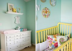 love the yellow jenny lind & sea-foam walls! great combo for a boy or a girl!