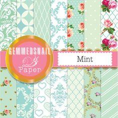 Mint digital paper, mint green digital paper. 14 mint backgrounds, mint green scrapbook papers