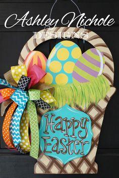 Easter Basket Door Hanger, Easter Door Hanger, Easter Wreath by DesignsAshleyNichole on Etsy https://www.etsy.com/listing/220258285/easter-basket-door-hanger-easter-door
