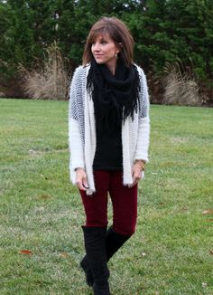 I really like this look.  I want some colored skinnies to wear with boots.  I own the scarf!