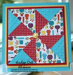 handmade quilt card ... one big pinwheel lock on a square care ... bright and cheerful ...