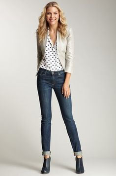 Love white shirt with blk.polka dots & Jeans with booties.