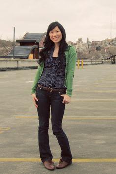 polka dot shirt and cardigan, black and green