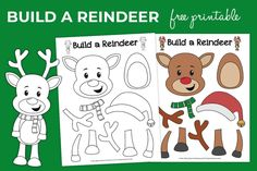 Build-a-Reindeer_free-printable-for-kids_christmas-activity_product Christmas Activities For Kids, Thanksgiving Crafts For Kids, Halloween Crafts For Kids, Christmas Crafts For Kids, Kid Activities, Christmas Printables, Christmas Ideas, Unicorn Crafts, Bunny Crafts