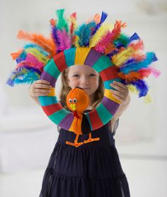 Lion Brand® Turkey Wreath #thanksgiving  #kids #craft