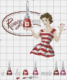 Retro nail polish advertisement cross stitch pattern