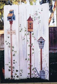Neighborhood Fence Birdhouses Decorative Tole Painting Pattern
