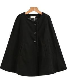 Negozio Mantella con tasche-nera on-line. SheIn offre Mantella con tasche-nera & di più per soddisfare le vostre esigenze di moda.