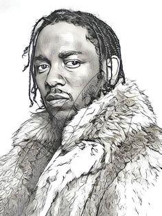 Kendrick Lamar Drawing Sketch PRINT Wall Art Illustration