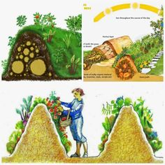 """Permaculture gardening - Hügelkultur (German, meaning """"hill culture"""" or """"mound culture"""") is the garden concept of building raised beds over decaying wood piles Building Raised Beds, Potager Bio, Organic Farming, Organic Gardening, Vegetable Gardening, Natural Farming, Indoor Gardening, Dream Garden, Garden Planning"""