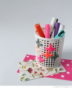 the red thread embroidered pencil cup