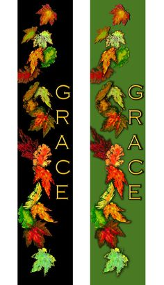 More fall leaf banner and parament ideas for your church.  Vertical and horizontal available.  Wording. logo and background color changes at no additional cost.