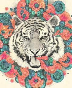 bengal mandala Art Print by Laura Graves - $18.00  #Art #Tiger #Animals #illustration #Patterns #colors #Print #Home #Decor #Wallart