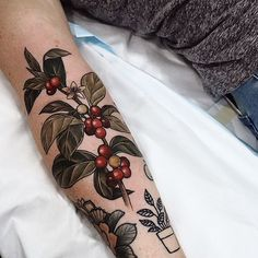 WEBSTA @ sophiabaughan - Last coffee plant I'll tattoo for a while Maybe I'll just paint one for errybody to keep instead. For barista Rachel! Thankyou X