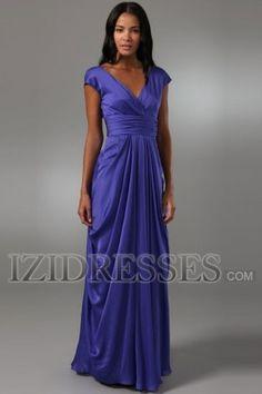 Sheath/Column V-neck Elastic Woven Satin Organza Evening Dresses