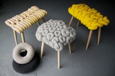 Knitted stools by British textile designer Claire-Anne O'Brien.  I don't appreciate the article writer associating knitting with a granny.  The only thing old here is that attitude.