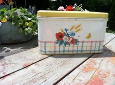 White Tin Bread Box with yellow lid and flowers/1950s/1960s