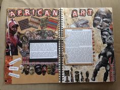 African art history page - how to present cultural or art study pages A Level Art Sketchbook, Sketchbook Layout, Textiles Sketchbook, Sketchbook Ideas, Artist Research Page, African Art Projects, Collages, Art Alevel, Art Diary