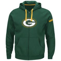 This 80% cotton/20% polyester zip up hoodie from Majestic features a quality team logo in front and your team name stitched on the left arm. Standard men's sizes. #greenbay #packers #nfl