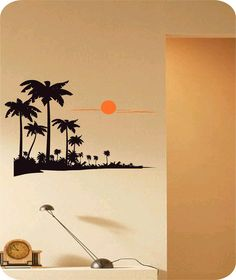 Palm Tree Beach Vinyl Wall Art Sticker Decal Home Decor