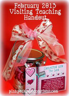 pink polka dot creations:  February 2013 Visiting Teaching Handout.  Free Printables.