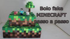 Como fazer bolo fake Minecraft passo a passo