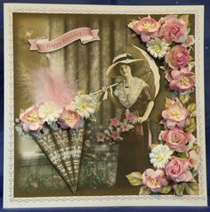 Vintage Rose Parasol.  8 x 8 boxed decoupaged card See it now on: www.therhodaharveycollection.co.uk