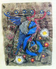 peacock folk art | Vintage Mexican Amate Bark Peacock Folk Art