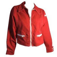 Candy Red Zipper Trimmed Cropped Jacket circa 1980s