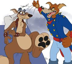 """""""Don Karnage's patience is wearing very very thin with you!"""" Don Karnage and Mad Dog © Disney Artwork by Bleuxwolf Get Up You Lazy Bum! Walt Disney Cartoons, Disney Artwork, Get Up, Disney Love, Cartoon Styles, Scooby Doo, Disney Characters, Fictional Characters, Fan Art"""